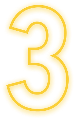 The number three outlined with a neon yellow glow
