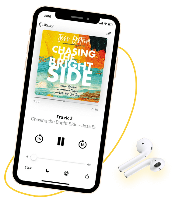 iPhone playing Chasing the Bright Side on Audible