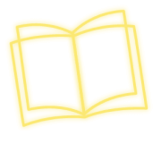 Book outlined with yellow neon