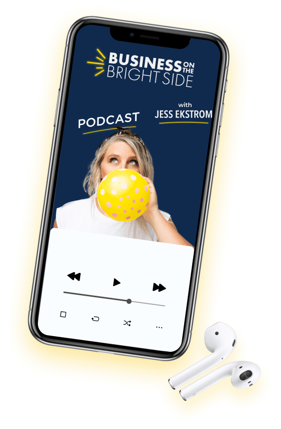 iPhone with Business on the Bright Side Podcast Playing with airpods sitting next to the phone